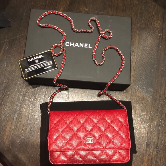 7782d9817603 CHANEL Bags | Wallet On Chain In Red Caviar Leather | Poshmark